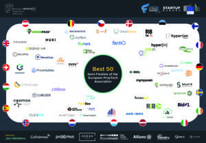 A visual of the 50 semi-finalists of the Proptech Startup & Scale-up Europe Awards 2021